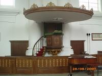 X-1609 Zierikzee. Kerkplein. Interieur Nieuwe kerk; kansel (1848).