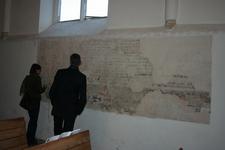 X-5700 Dreischor. Ring. Nederlands Hervormde Kerk (Adriaanskerk). Muurschildering/cartouche met bijbelteksten, ...