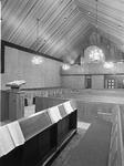 ZM-1038 Zierikzee. Sint Domusstraat. Kerkgebouw van de Oud Gereformeerde Gemeente. Interieur bij ingebruikname.
