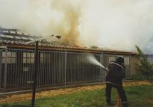 950009 Brandweer bezig met het blussen van een brand in een boerenschuur in de Dijckmeesterpolder bij Philippine