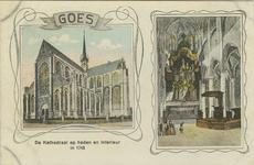 GOE-P-2 Pentekeningen van: rechts de Grote of Maria Magdalena kerk en links het interieur van die kerk