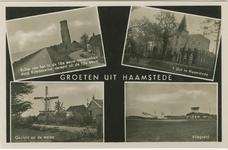 HAA-P-30 Combinatiekaart Groeten uit Haamstede : linksboven de Plompetoren, rechtsboven slot Haamstede, rechtsonder het ...