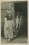 KLD-P-178 Een vrouw in Zeeuwse dracht bij een koeienstal