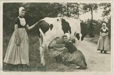 KLD-P-212 Een vrouw en twee meisjes in Walcherse dracht aan het koeien melken