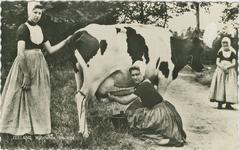 KLD-P-213 Een vrouw en twee meisjes in Walcherse dracht aan het koeien melken