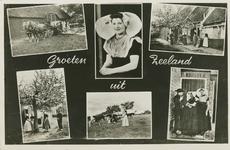KLD-P-329 Combinatiekaart Groeten uit Zeeland : zes foto's van personen in Walcherse dracht