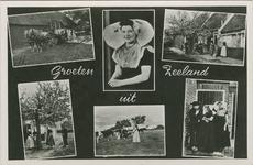 KLD-P-329A Combinatiekaart Groeten uit Zeeland : zes foto's van personen in Walcherse dracht