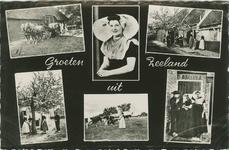 KLD-P-330 Combinatiekaart Groeten uit Zeeland : zes foto's van personen in Walcherse dracht