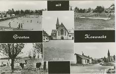 KOE-P-26 Combinatiekaart Groeten uit Koewacht : linksboven het zwembad, rechtsboven de speeltuin, rechtsonder het ...