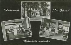 KOU-P-83 Combinatiekaart Restaurant De Schuur Dishoek-Koudekerke : boven de buitengevel en onder twee foto's van het ...