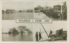 WAA-P-50 Combinatiekaart Waarde, 1 Februari 1953 : drie foto's van ondergelopen huizen en een foto van het ruimen van ...