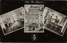 21123 'Café De Albatros'. Café De Albatros op het Beursplein 3, eigenaar A. vd. Velde. Drie afbeeldingen: links de ...