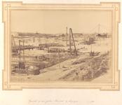 22262 Werkzaamheden i.v.m. haven-, kanaal- en spoorwegwerken te Vlissingen. Dubbele schutsluis te Vlissingen gezien ...