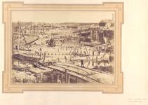 22265 Werkzaamheden i.v.m. haven-, kanaal- en spoorwegwerken te Vlissingen. Dubbele schutsluis te Vlissingen gezien ...