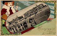 2607 'Vlissingen. Badplaats' Kleurenkaart met zwart-wit afbeelding Badstrand en Boulevard Evertsen met Grand Hotel des ...