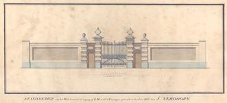 1038 Stand gezigt van het Hek dienende to ingang op z.m. werf te Vlissingen, gebouwdt in den jare 1817 door J. Verdoorn.