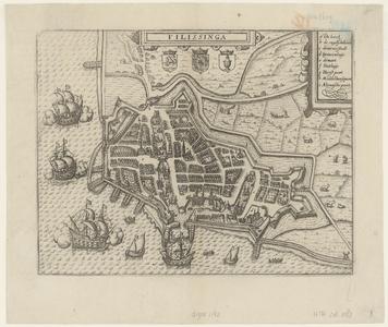1142 [Plattegrond van ] Filissinga [Vlissingen met opstanden van huizen en gebouwen].