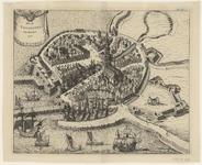 2037 [Plattegrond van] Oud Vlissingen van den jare 1500 [met opstanden van huizen en gebouwen].