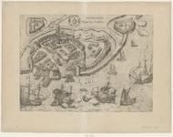 2053 [Plattegrond van] Vlissingen [met opstanden van huizen en gebouwen].