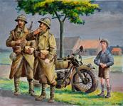 2485 (Een jongen en twee Franse militairen kijken naar een vliegtuig)