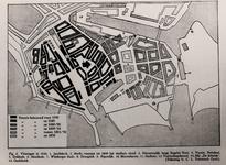 2599 [Plattegrond van de stad waarin met jaartallen de betreffende bouwblokken ziijn aangegeven]