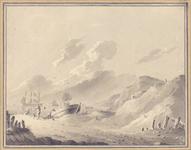 281 [Zeegezicht met schepen grenzend aan duinlandschap]
