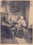 304 [De oude invalide zeeman gezeten op een stoel met een boek over M.A. de Ruyter]