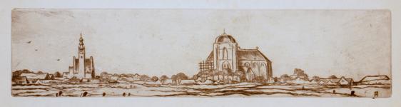 3679 [Stadsgezicht met kerkgebouwen en woningen]
