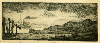 3729 [Duinen en zicht op zee met boot]