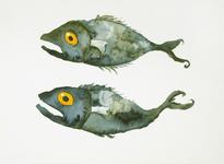 3908 [Twee geelogige vissen]
