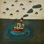 3914 (Bootje met gekooide vogels en een lucht vol paraplu's)