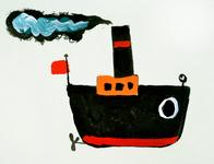 3918 [Stoomboot met schroef en rode vlag]