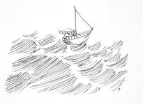 3921 [Zeilbootje in de golven]