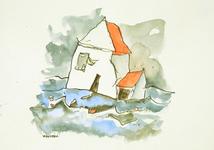 3940 [Huis omringd door golven]