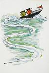 3944 [Zigzaggend bootje met twee figuurtjes aan boord]