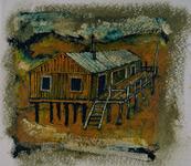 3982 [Houten huis met veranda op palen]