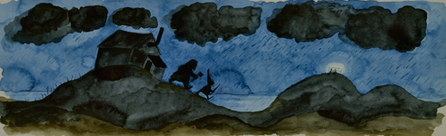 3984 [Twee figuurtjes in een donker, regenachtig heuvellandschap]