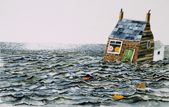 4021 [Huisje omringd door water)