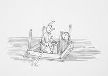 4030 [Twee figuren op een drijvende houten tafel]