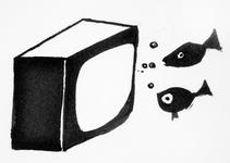4047 [Vissen zwemmend voor een televisie]