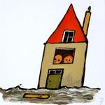 4050 [Twee figuurtjes in een deels onder water gelopen huisje]