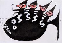 4055 [Vis met vier figuurtjes op de rug]