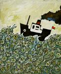4123 [Bootje varend in een zee vol vissen]