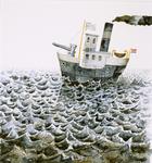 4136 [Boot op een golvende zee)