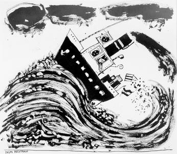 4142 [Stoomboot met Sinterklaas en Zwarte Piet opgetild door golven]