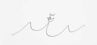 4155 [Figuurtje in zeilbootje op een golftop]