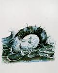 4156 [Stoorworm in golvende zee]