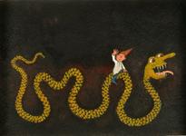 4159 [Stoorworm met zwaaiend jongetje op zijn rug]