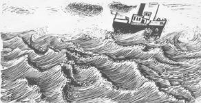 4160 [Boot op woelige zee]