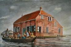 4350 [Mensen in een boot tijdens de inundatie]